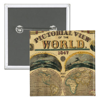 Pictorial View of the World 2 Inch Square Button