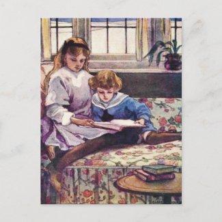 Picture Books in Winter Fine Art Postcard