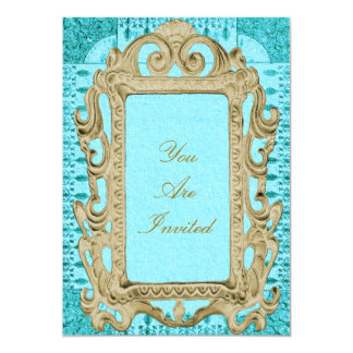 Picture Frame Gold And Blue Wedding Invitations