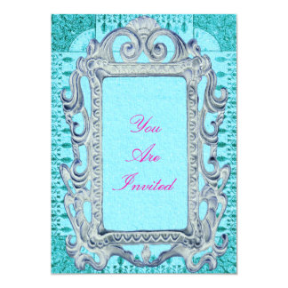 Picture Frame Pink And Blue Wedding Invitations