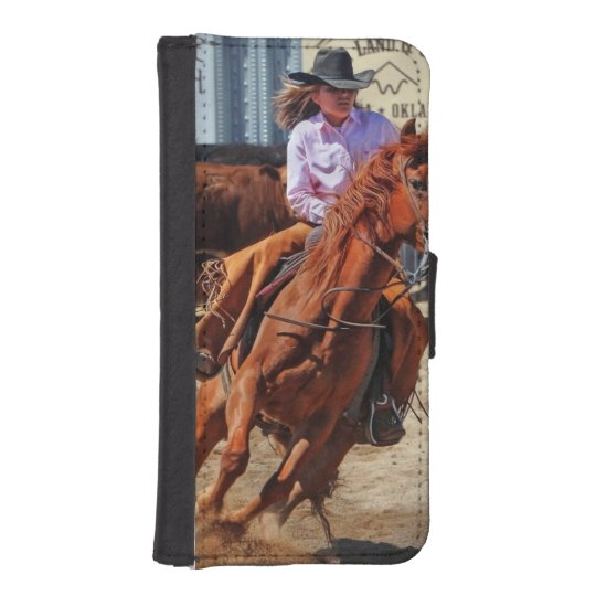 Picture Of A Horse And A Cowgirl iPhone 5 Wallet Cases