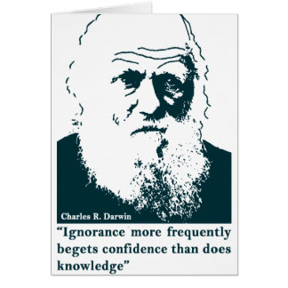 Picture of Darwin and mentions. English Card