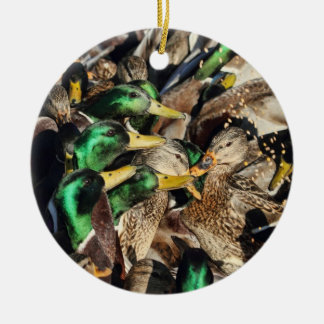 Picture of Ducks in a Crowd Ceramic Ornament