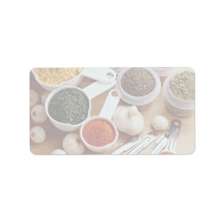 Picture of Fresh spices with garlic cloves Label