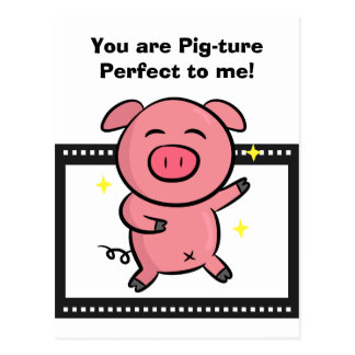 Picture perfect of a pink piggy posing for camera postcard