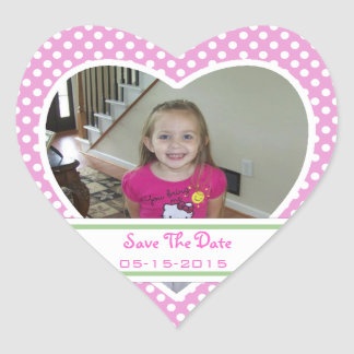 Picture: Polka-dot Heart: Save The Date Stickers