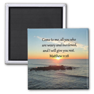 "PICTURESQUE MATTHEW 11""28 SCRIPTURE VERSE SQUARE MAGNET"