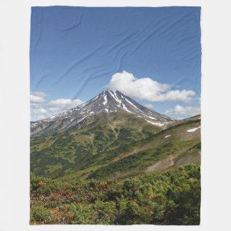 Picturesque summer volcanic landscape fleece blanket