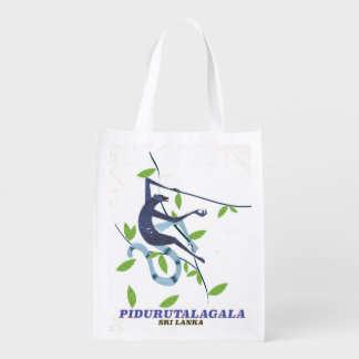 Pidurutalagala Sri Lanka travel poster. Reusable Grocery Bag
