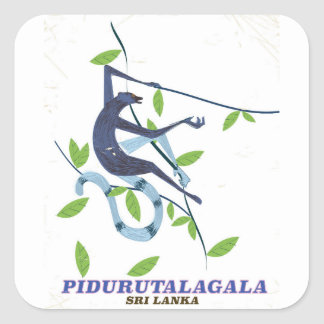 Pidurutalagala Sri Lanka travel poster. Square Sticker