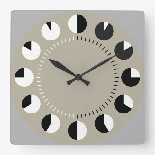 PIE CHART TIME   brushstrokes and a splash of red Square Wall Clock