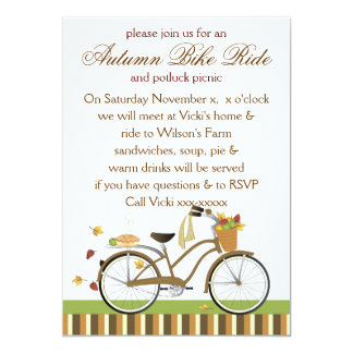 "Pie Delivery Bicycle 5"" X 7"" Invitation Card"