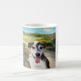 Pie in a Field of Dahlias (Dog on Path mug) Coffee Mug