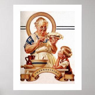 """""""Pie Making"""". Thanksgiving Vintage Art Poster"""