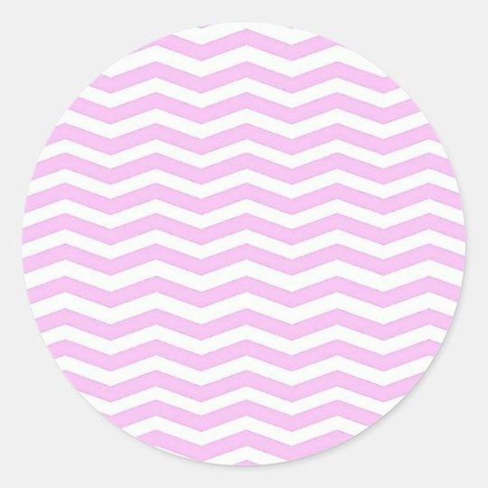 Pie Pink Chevron Stripes Sticker Round