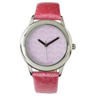 Pie Pink Chevron Stripes Watch