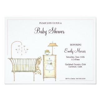 Pièce chic de bébé carton d'invitation  13,97 cm x 19,05 cm