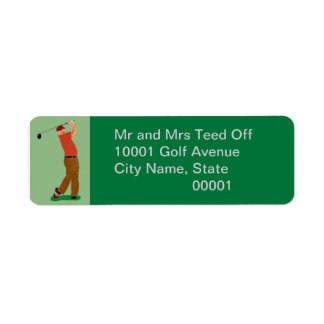 Pièce en t outre de golfeur étiquettes d'adresse retour