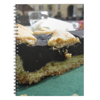 Piece of chocolate cake on green paper napkin notebook
