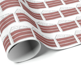 Piece of Red Velvet Layer Cake Slice Baking Foodie Wrapping Paper