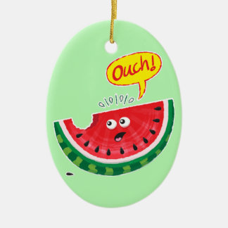 Piece of watermelon expressing pain after a bite ceramic ornament