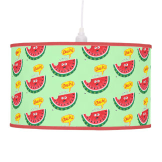 Piece of watermelon expressing pain after a bite pendant lamp