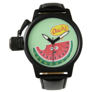 Piece of watermelon expressing pain after a bite wristwatch