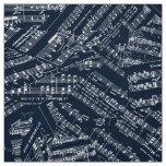 Pieces of Music White/Blue POMV Fabric