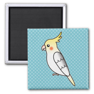 Pied Cartoon Cockatiel Parrot Bird Magnet