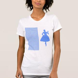 Pied-de-poule moderne bleu avec la silhouette de t-shirt