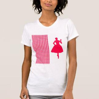 Pied-de-poule moderne de pavot avec la silhouette tee shirt