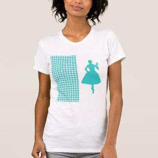 Pied-de-poule moderne de turquoise avec la t-shirt