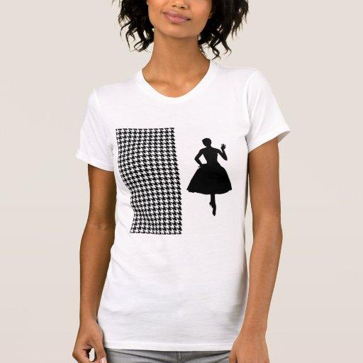 Pied-de-poule moderne noir avec la silhouette de t-shirt