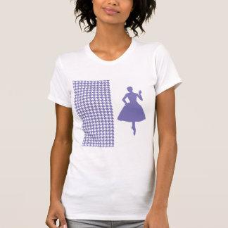 Pied-de-poule moderne pourpre avec la silhouette t-shirt