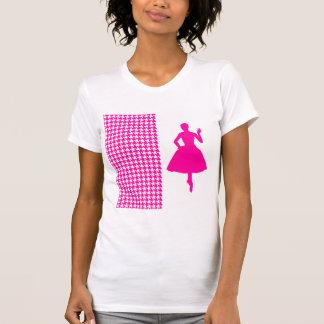 Pied-de-poule moderne rose avec la silhouette de t-shirts