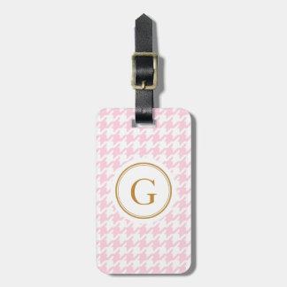Pied-de-poule rose à la mode élégant avec le monog étiquettes pour bagages