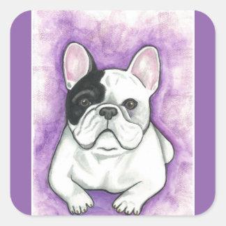 Pied French Bulldog purple stickers