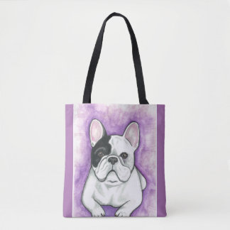 Pied French Bulldog purple tote bag
