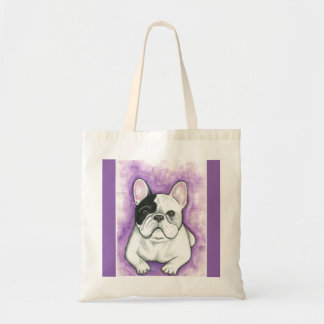 Pied French Bulldog tote with purple