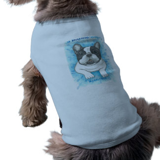 Pied French Bulldog with blue dog tee shirt