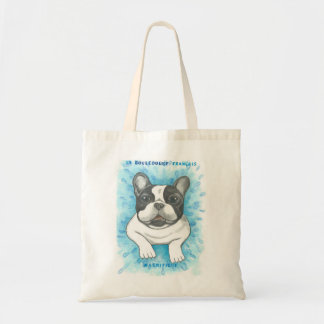 Pied French Bulldog with blue tote