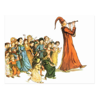 Pied Piper Illustration by Kate Greenaway Postcard