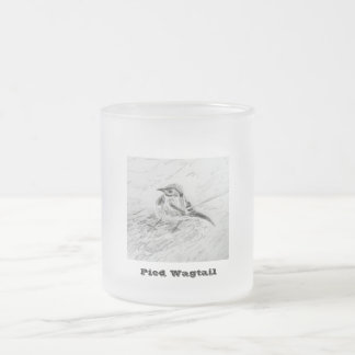 Pied Wagtail Frosted Glass Coffee Mug