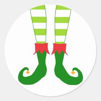 Pieds mignons d'Elf de Noël Sticker Rond