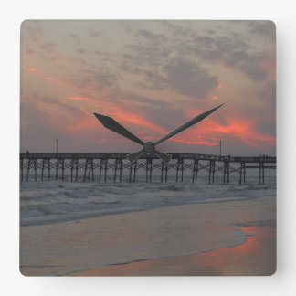 Pier and Sunset - Oak Island, NC Square Wall Clock