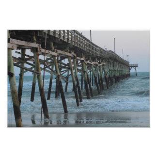 Pier and Waves - Oak Island, North Carolina Photo