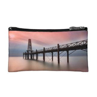 Pier at sunset makeup bag