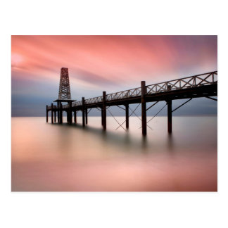 Pier at sunset postcard