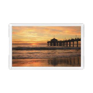 Pier beach sunset acrylic tray