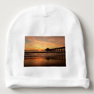 Pier beach sunset baby beanie